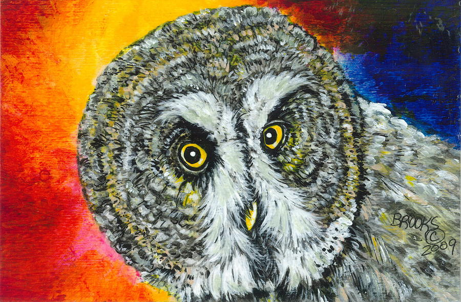 Owl Painting - None The Wiser. by Richard Brooks