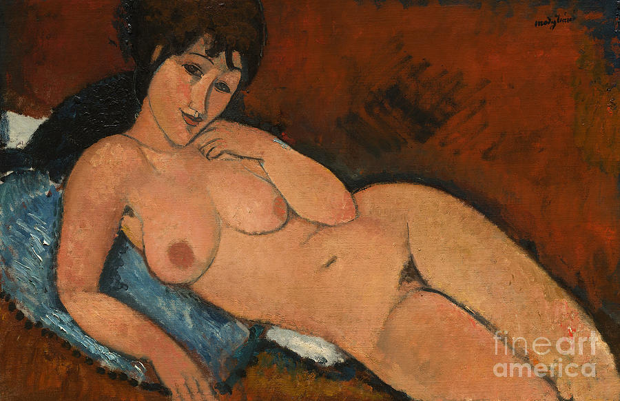 Nude Painting - Nude On A Blue Cushion by Amedeo Modigliani