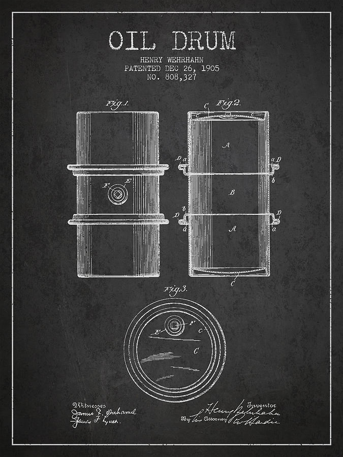 Oil Digital Art - Oil Drum Patent Drawing From 1905 by Aged Pixel