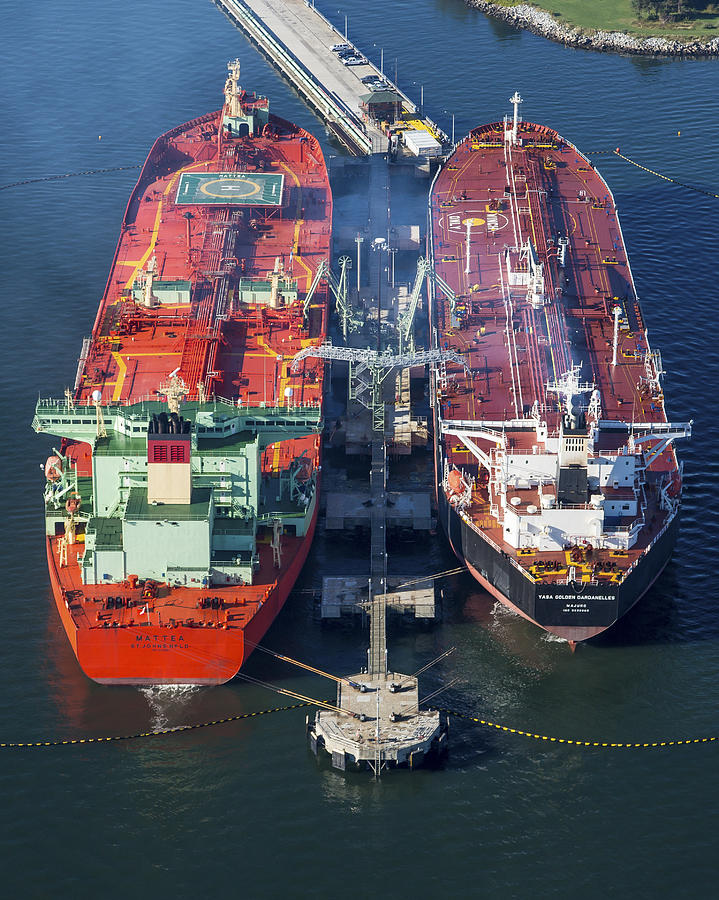 America Photograph - Oil Tankers Docked At Oil Pier, Down by Dave Cleaveland