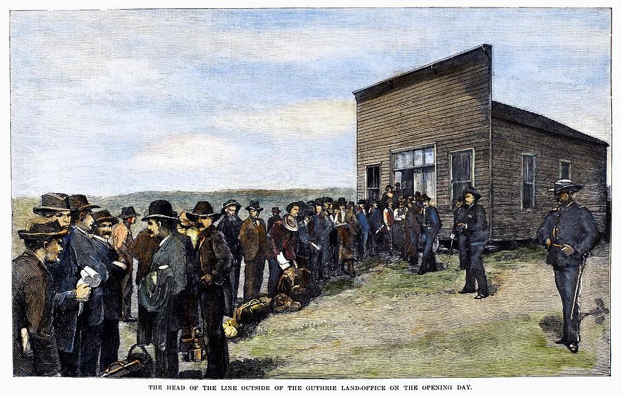 1889 Painting - Oklahoma Land Rush, 1889 by Granger