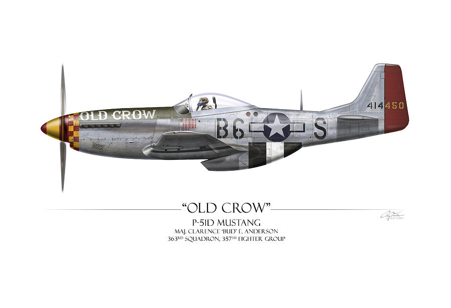 Aviation Painting - Old Crow P-51 Mustang - White Background 2 by Craig Tinder