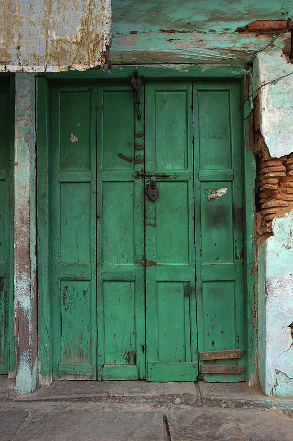 Old Doors India, Varanasi Photograph by Stereostok