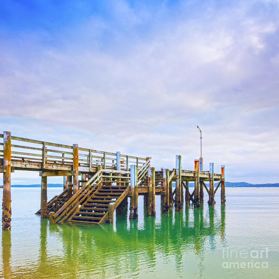 Jetty Photograph - Old Jetty With Steps Maraetai Beach Auckland New Zealand by Colin and Linda McKie