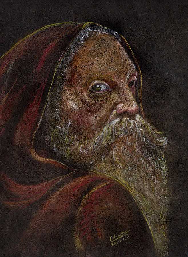 Portrait Pastel - Old Man by Prakash Leuva