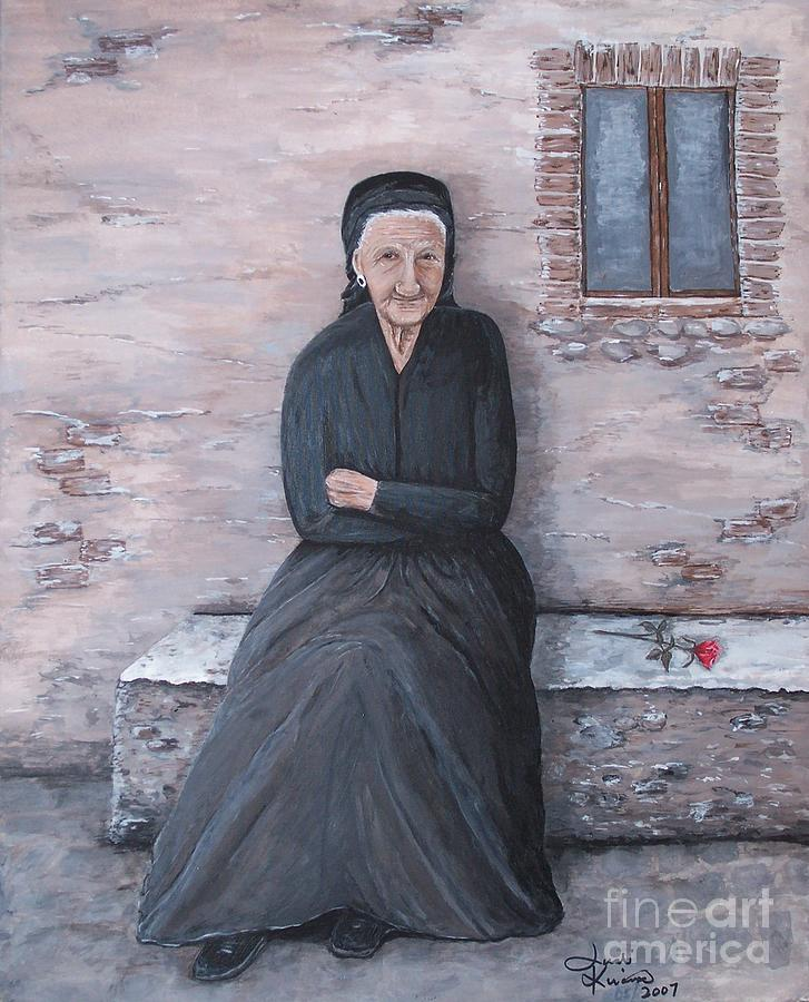 Old Woman Waiting by Judy Kirouac