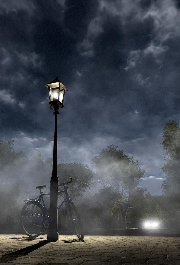 Night Digital Art - Ominous Avenue by Cynthia Decker