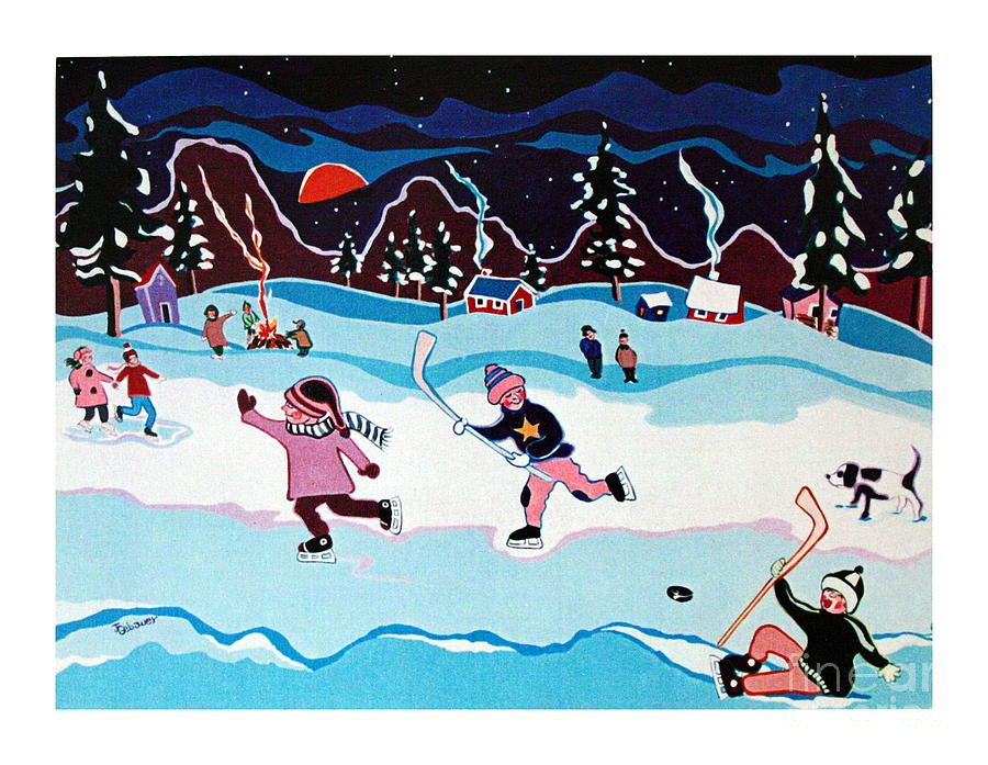 Christmas Greeting Card Painting - On Frozen Pond by Joyce Gebauer