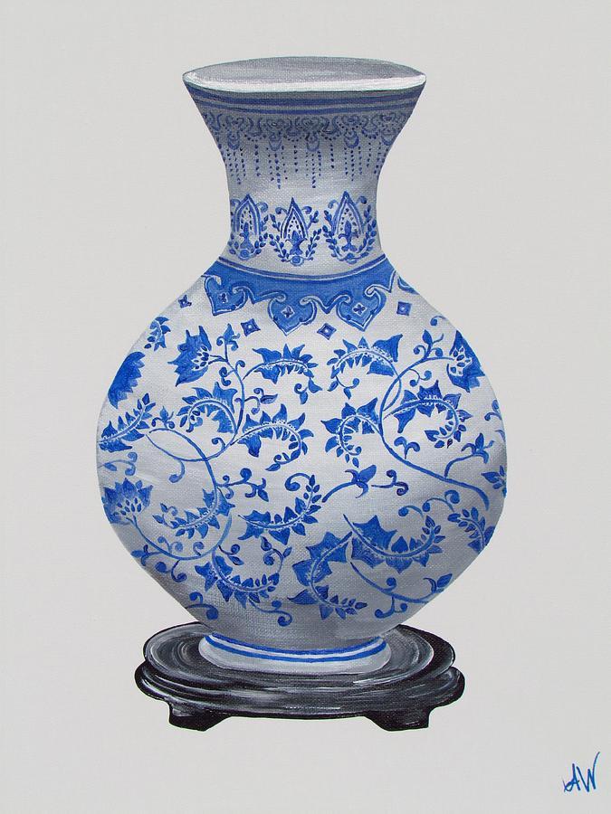 Oriental Vase Painting - Oriental Bowl Vase by Mandy Joy