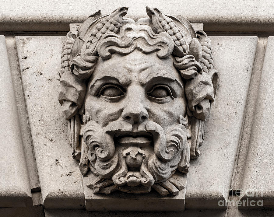 Ornamental carved stone face washington dc photograph by