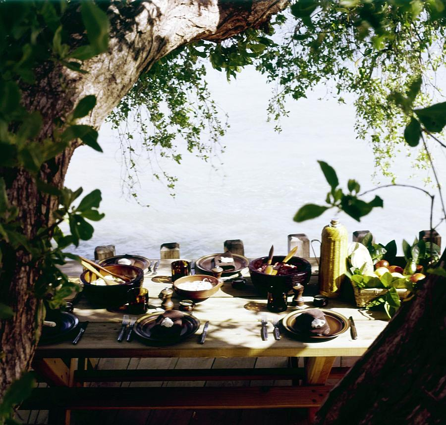 Oscar De La Rentas Dining Table Photograph by Horst P. Horst