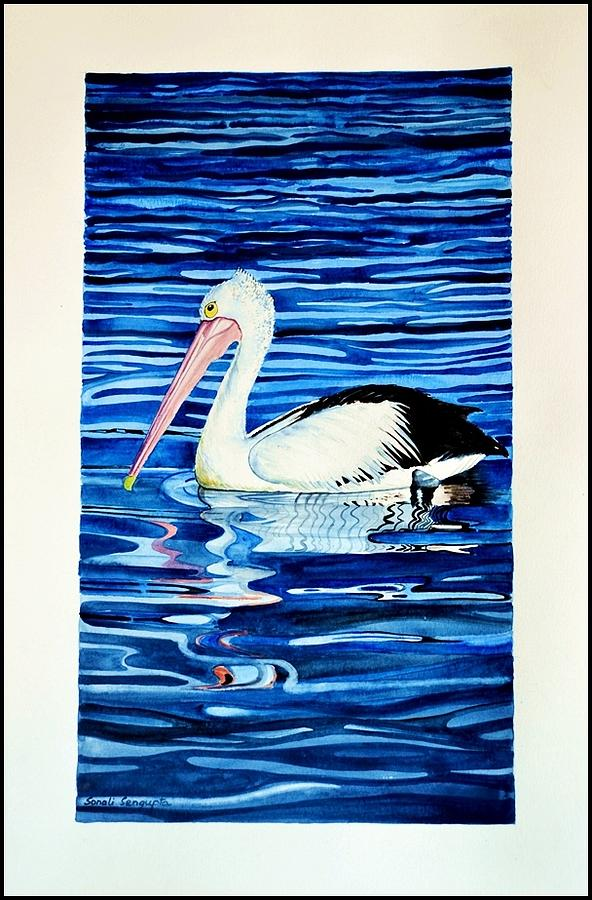 Pelican Painting - Out For A Swim by Sonali Sengupta