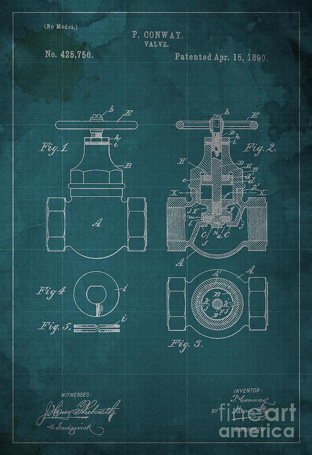 P. Conway Valve Blueprint Patent Digital Art