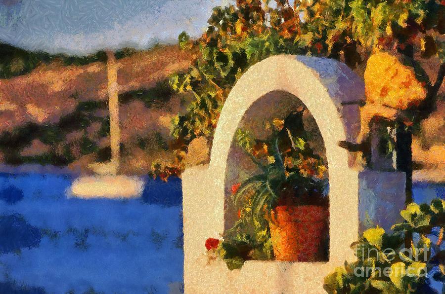 Agia Marina Town Painting