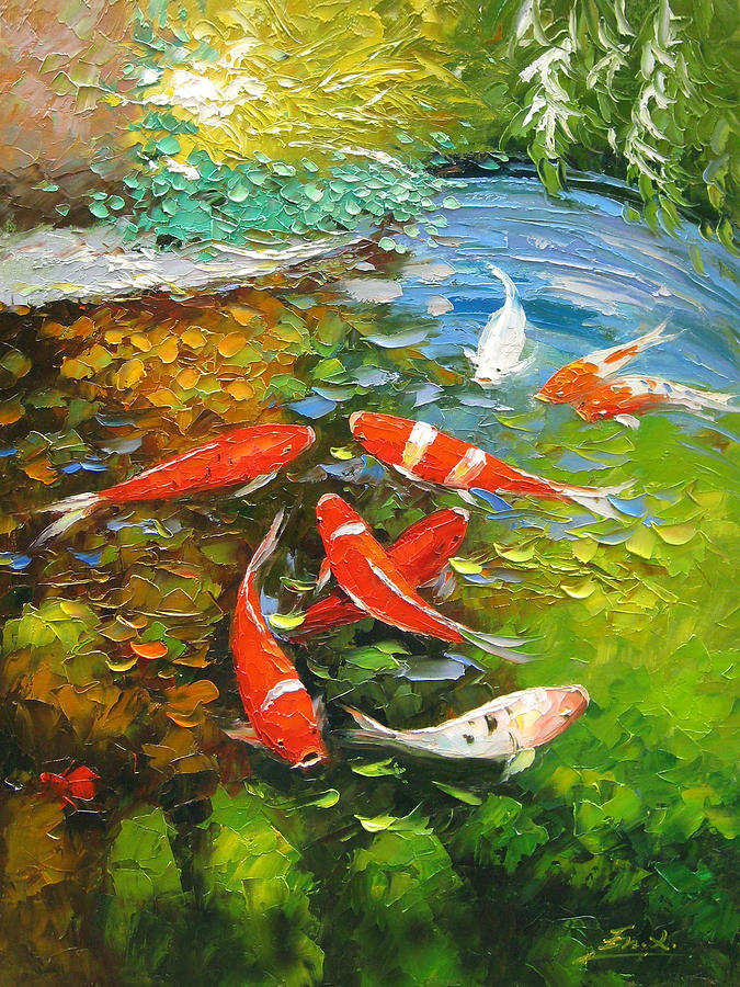 Palette knife oil painting koi fish painting by enxu zhou for How to paint a fish