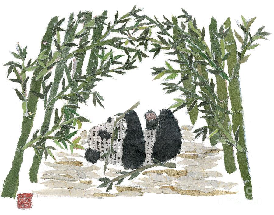 Panda Bear Painting - Panda Bear In Bamboo Bush Hand-torn Newspaper Collage Art  by Keiko Suzuki