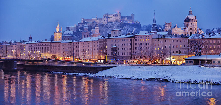 Winter Photograph - Panorama Of Salzburg In The Winter by Sabine Jacobs
