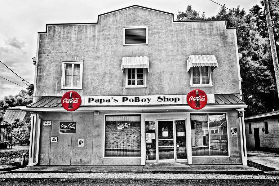 Selective Color Photograph - Papas Poboy Shop by Scott Pellegrin