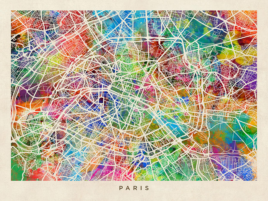 Gut gemocht Paris France Street Map Digital Art by Michael Tompsett QK42