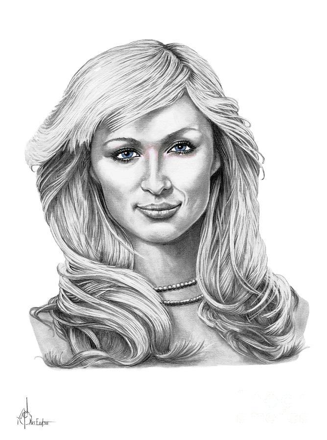 Pencil Drawing - Paris Hilton by Murphy Elliott