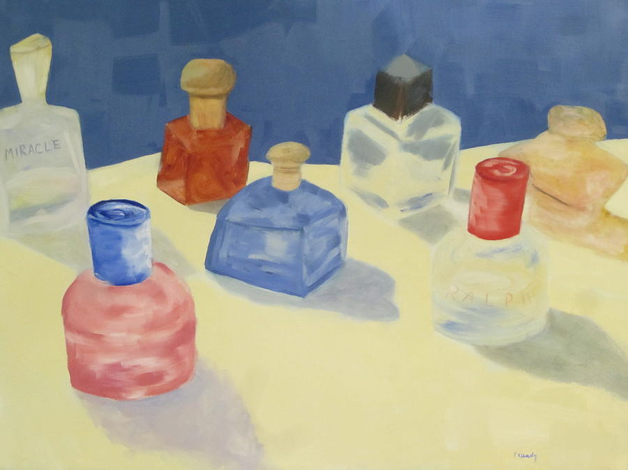 Perfume Bottles Painting - Perfume Bottles by Patricia Cleasby