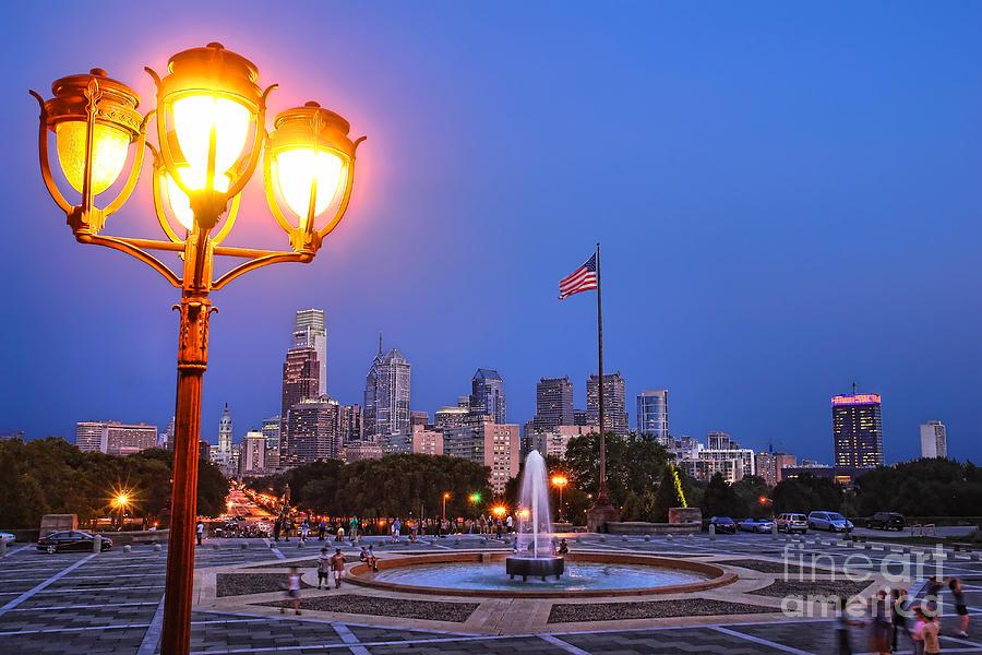 Philadelphia Photograph - Philadelphia At Dusk by Olivier Le Queinec