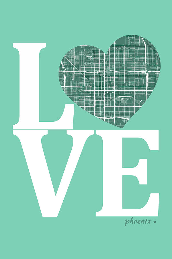 Phoenix Street Map Love Phoenix Arizona Road Map In A Heart