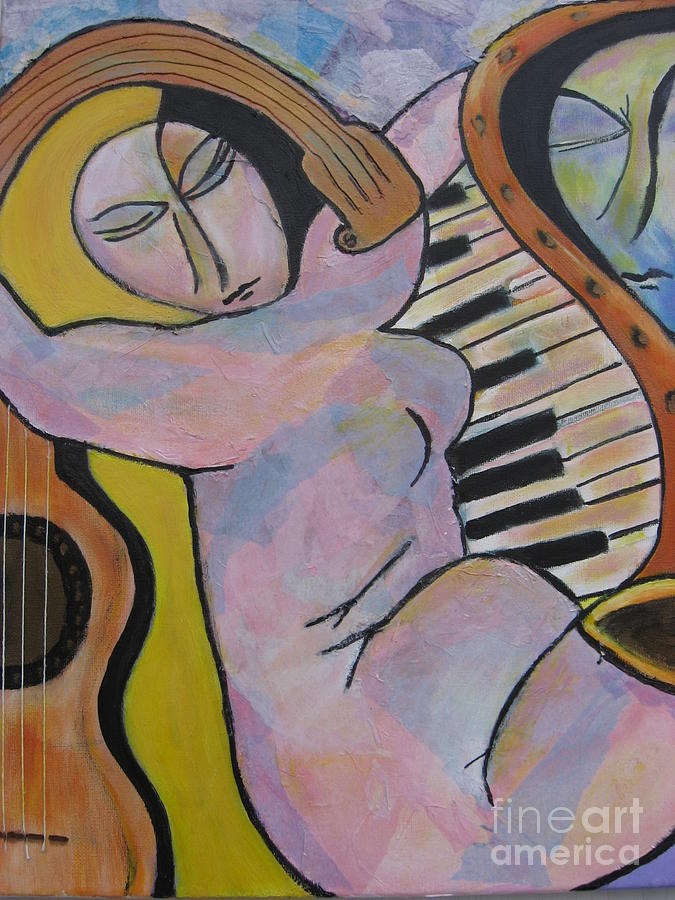 Woman Painting - Pianos And Guitars by Chaline Ouellet