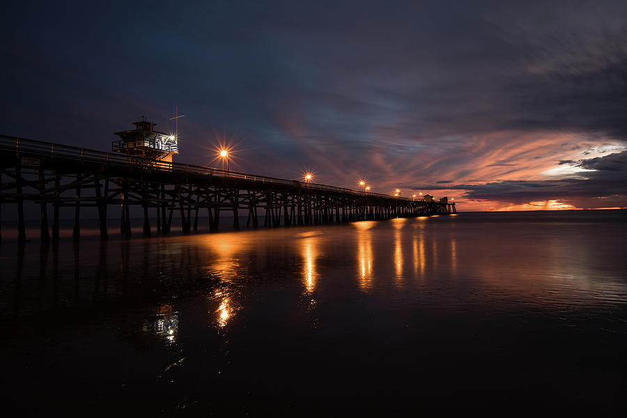 Horizontal Photograph - Pier In The Pacific Ocean At Dusk, San by Panoramic Images