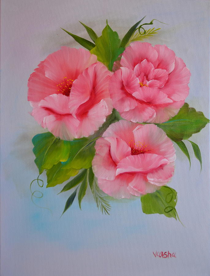 Flower Painting Painting - Pink Roses by Varsha Patel