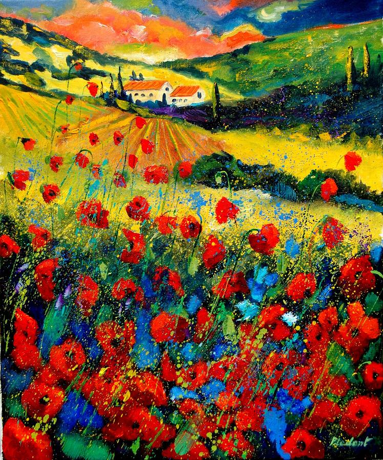 Floral Painting - Poppies in Tuscany  by Pol Ledent