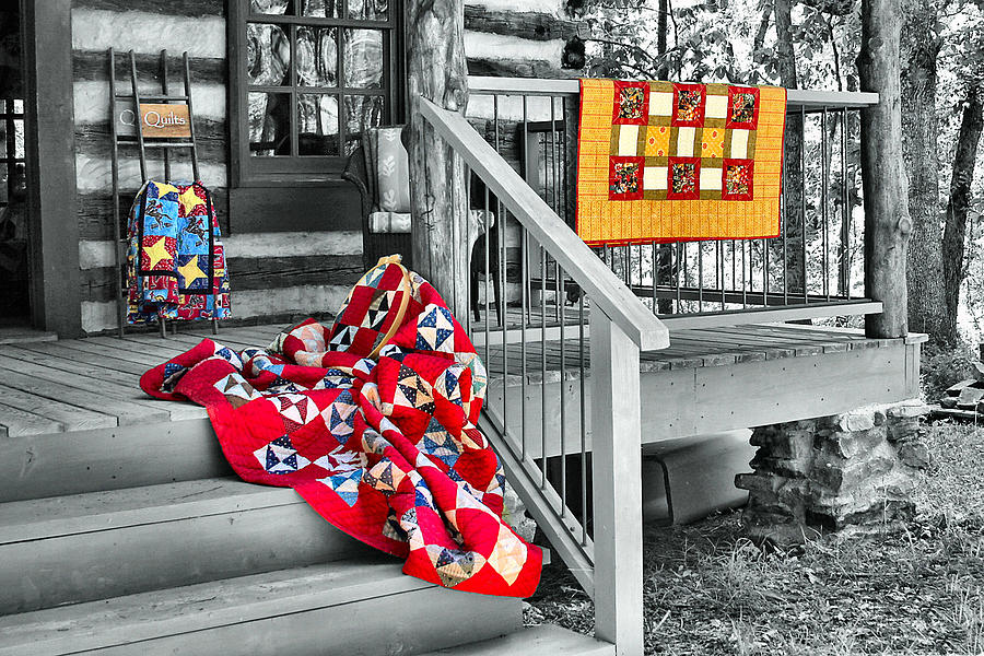Quilt Photograph - Porch Of Many Colors by Nadine Lewis