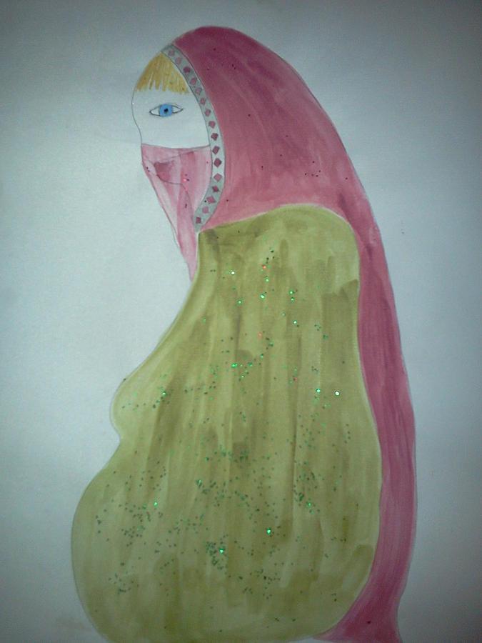 Pink Painting - Praying Woman by Karen Jensen