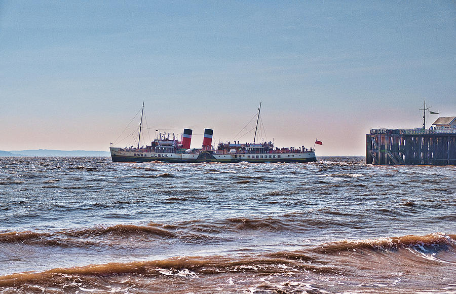 The Waverley Paddle Steamer Photograph - Ps Waverley Leaves Penarth Pier by Steve Purnell