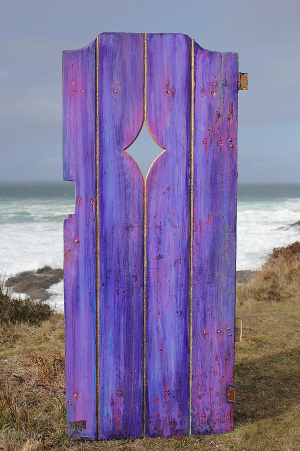 Mixed Media On Wood Photograph - Purple Gateway To The Sea by Asha Carolyn Young