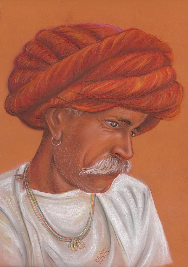 Portrait Pastel - Rabari by Prakash Leuva