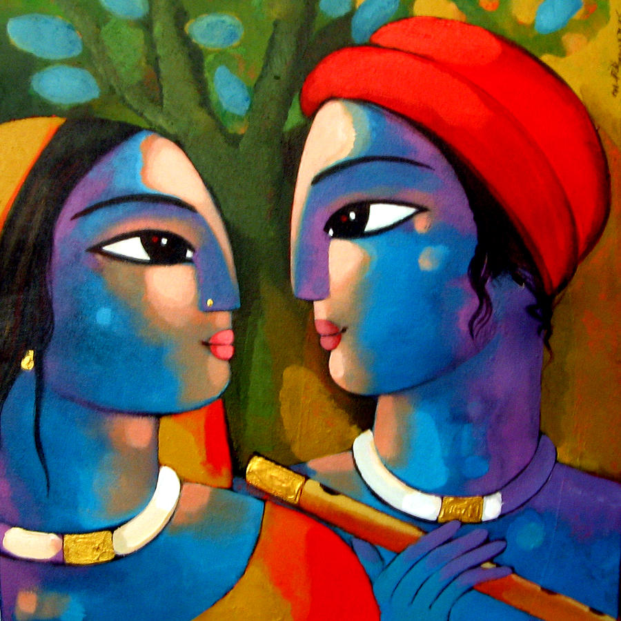 Radha Krishna Painting By Sekhar Roy