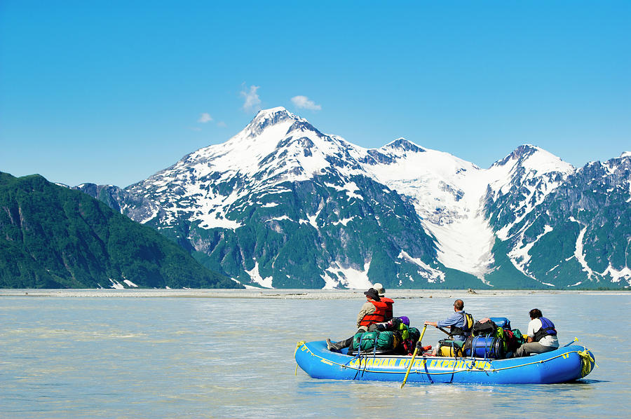 Kluane National Park Photograph - Rafters On The Alsek River by Josh Miller Photography
