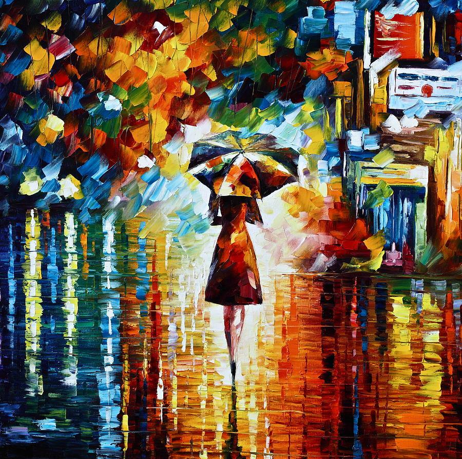 Rain Painting - Rain Princess - Palette Knife Landscape Oil Painting On Canvas By Leonid Afremov by Leonid Afremov