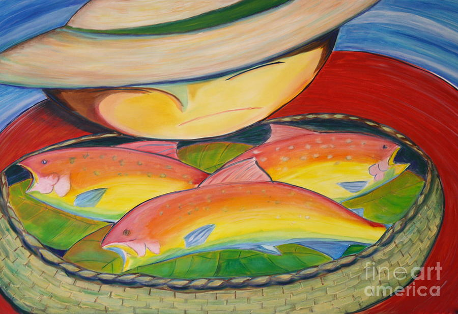 Landscape Painting - Rainbow Fish by Teresa Hutto