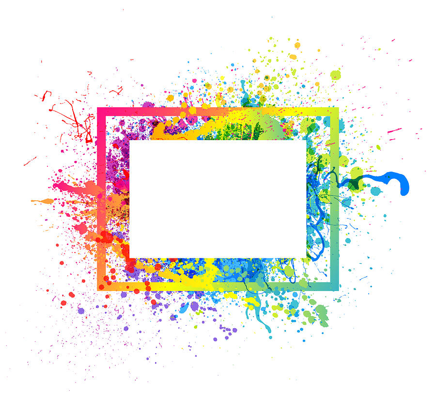 Rainbow paint splash frame Drawing by Enjoynz
