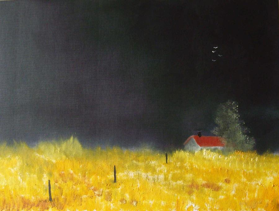 Corn Field Painting - Red Barn by Andy Davis