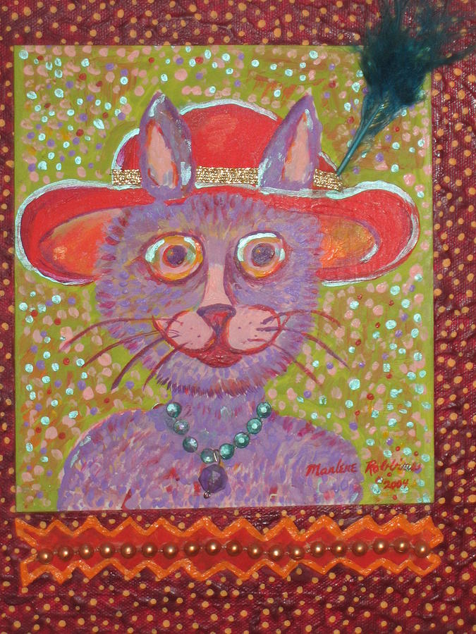 Cat Painting - Red Hat Cat by Marlene Robbins