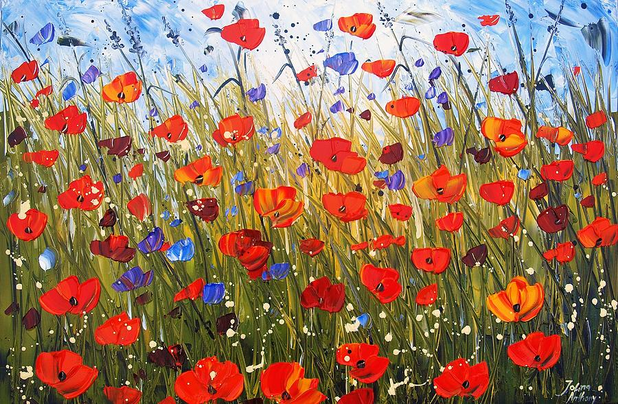 Red Poppifield Painting by Jolina Anthony