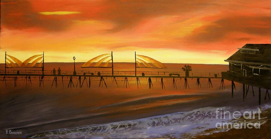 Redondo Beach Pier Painting - Redondo Beach Pier At Sunset by Bev Conover