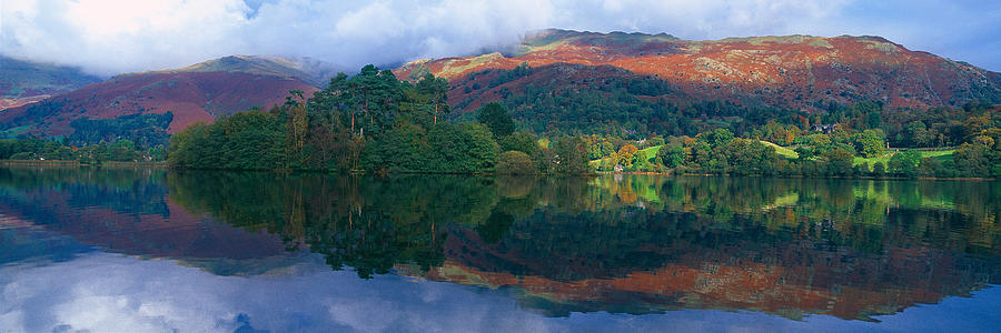 Color Image Photograph - Reflection Of Hills In A Lake by Panoramic Images