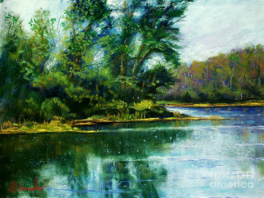 Landscape Pastel - Reflections by Bruce Schrader