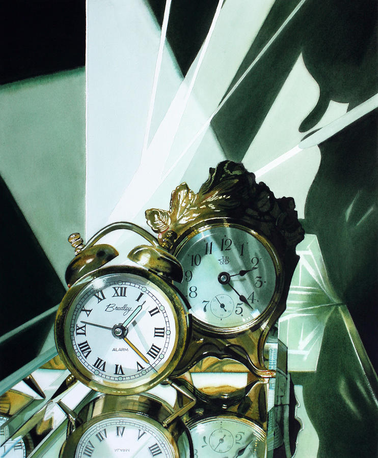 Clocks Painting - Reflections by Denny Bond