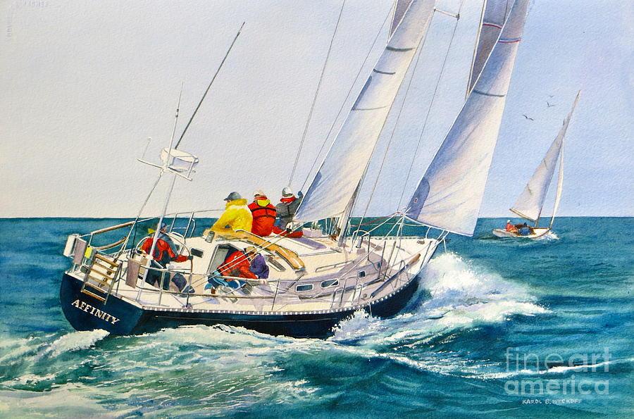 Boat Painting - Regatta Bound by Karol Wyckoff
