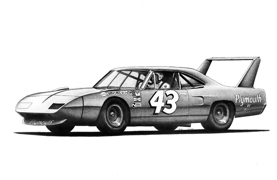 Richard Petty 1970 Plymouth Superbird Drawing By Nick Toth